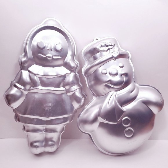 Vintage Wilton Merry Snowman and Story Book Doll Cake Pans Lot of 2